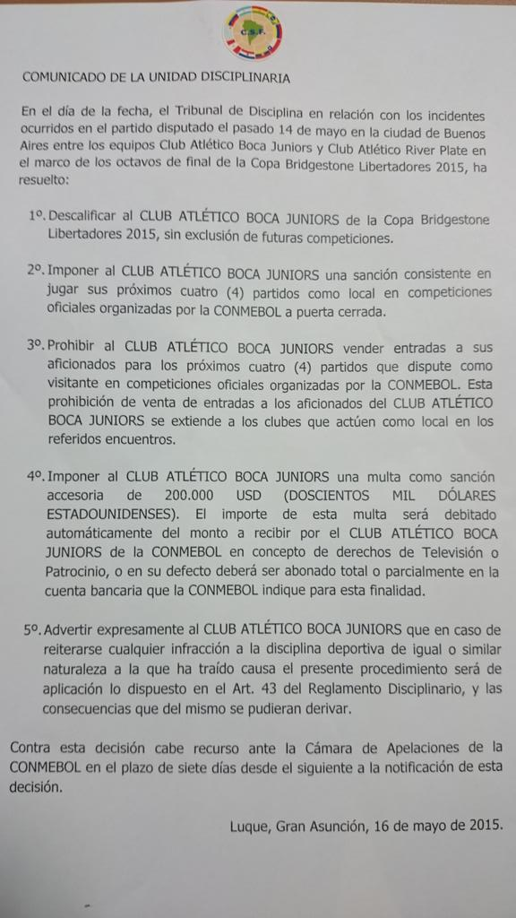 Comunicado CONMEBOL River-Boca